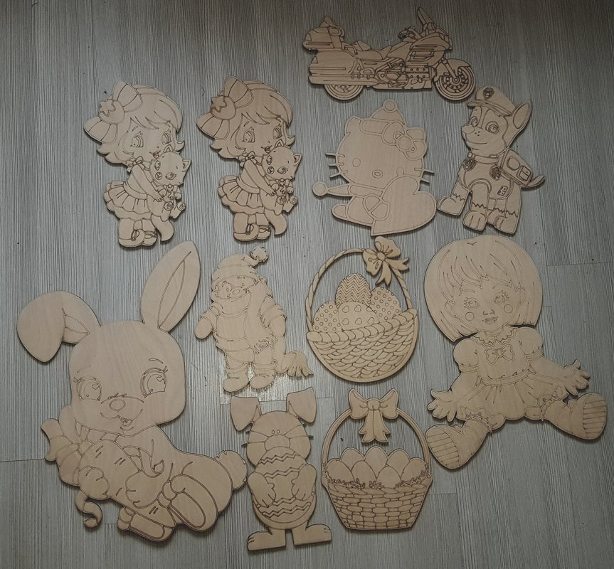 Koka izkrāsojamo figūru komplekts, 6 gab.
